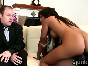 Stunning brunette MILF mounts a massive black dong in front of her son