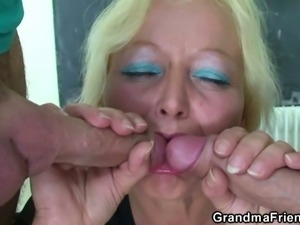 Granny teacher gets banged by two studs