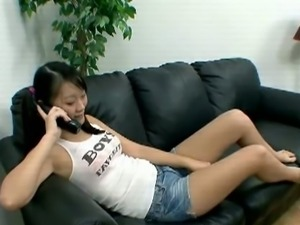 Asian teen has phone sex