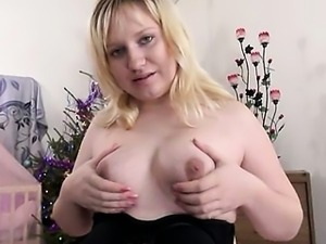 breasty blonde mature opening snatch