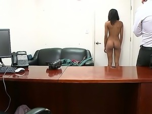 Skinny shy Isabella Pena with small titties and tight ass gets naked for...