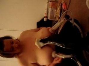busty sylvia milks her tits on a milking machine.very big nipples and huge...