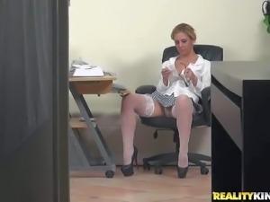MILF Hunter catches Cherie masturbating. Lovely blonde in white nylon...