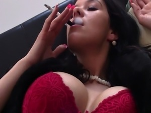 Big breasted Adrianne smokes