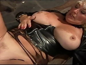 BBW big boobed mature blonde take a load on her meaty tits and loves it.