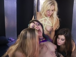 Busty lesbians in a wild foursome