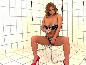 Attractive smoking hot brunette milf domina Dorothy Black with natural tits...