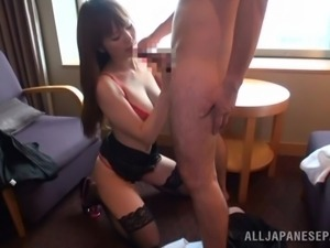 risa gets her ass slapped and sucks cock