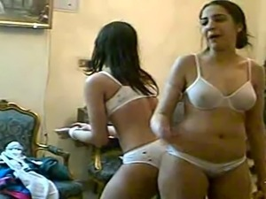 Two arab girls dancing in underwear