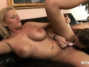 Hot lesbian MILFs Juliana Jolene and Miss Lady get down and dirty as they go...