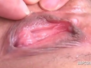 Close-up with Japanese pink little pussy opened wide