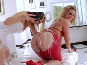 slutty blondes playing with milk