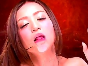 Aroused and pretty hot asian cutie Karin Kikumi enjoys in showing her...