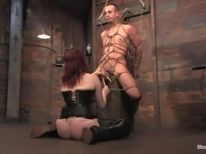 redhead tortures a cock