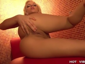 Naughty, petite vixen, Jakelin Teen, masturbates with her HotGVibe and a...
