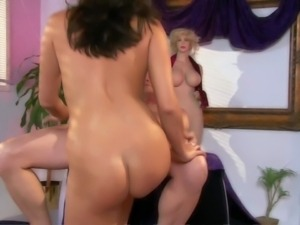 Cheep looking brunette Cece Stone with french manicure and round bouncing ass...