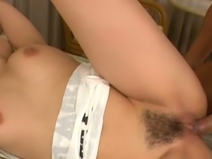 Megumi haruka gets her hairy pussy creampied.