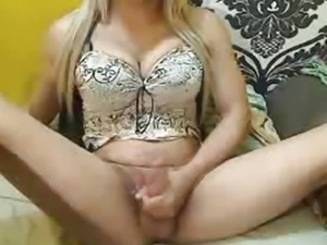 Busty Shemale Jerking Her Cock