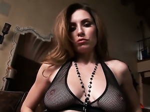 Jamie Lynn with juicy hooters and shaved twat cant stop playing with her twat
