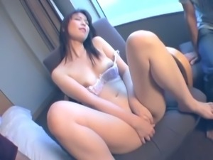 Sweet hairy japanese babe masturbates for two guys