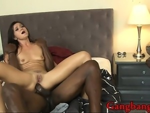 Nasty Cece Stone enjoys having three black cocks pumping her