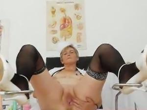 Granny berta toys her cunt in uniform