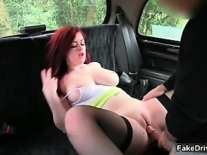 Busty redhead slut goes crazy sucking