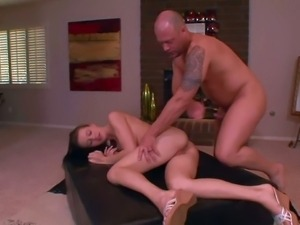 Tall amateur brunette girl with natural boobs and long legs gets naked for...