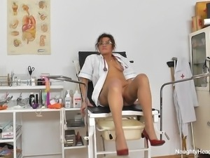 old horny nurse and her sex toys