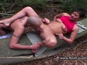 Kinky sexy British couple have sex outdoors