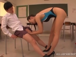 beautiful japanese teacher plaid by her student