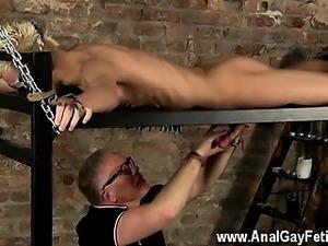 Hardcore gay Master Kane has a fresh toy, a metal sofa frame