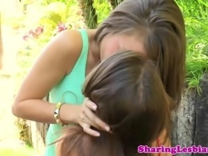 Lesbian teen gets her ass french kissed