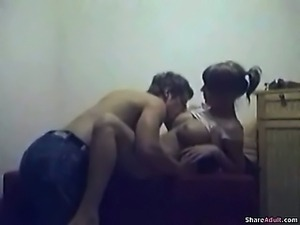 Very fit young couple burning calories with hot sex