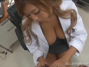 doctor babe squeezes her big boobs
