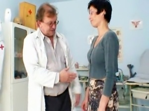 Mature woman Barbora gets her old mature pussy examined by kinky gyno doctor.