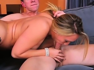Swallowing her boyfriend's bro's cock