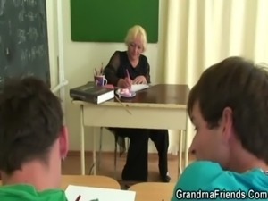 Two horny pupils bang old teacher free