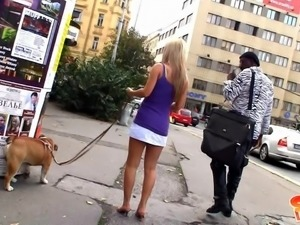 blonde beauty gets picked up to suck black cock