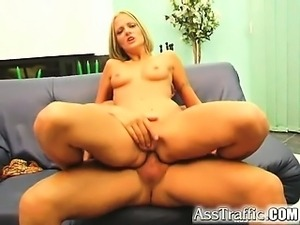 Chrissie is a blonde with smooth tanned skin and a tight