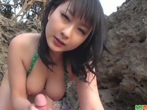 Megumi Haruka and her friend were walking around outside when she stops to...