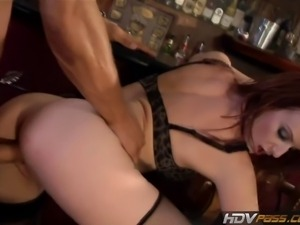 Once this bar closes up for the night, horny redhead cougar Audrey Lords...