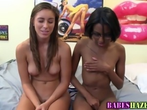 Lesbian college teens playing naked party games for soroity hazing