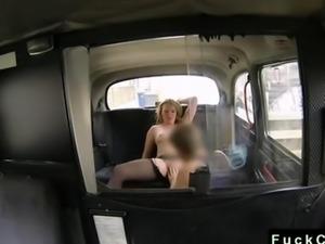 Blonde BBW anal banged in fake taxi