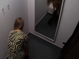 Young Czech Girl Fitting Bra and Panties in Lingerie Store