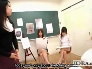 Subtitled Japanese art school teacher stripping handjob