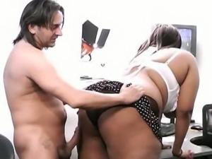 Ebony bbw brunette gets banged very hard