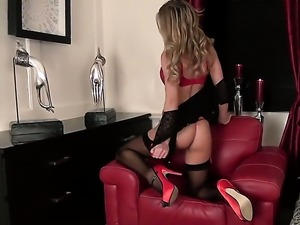 Warm stunner with big hooters and clean twat is curious about polishing her...