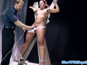 Hot bondage squirt loving babe fucked over a table