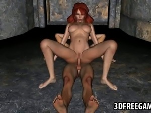 Mouth watering 3D cartoon redhead vixen taking every inch of a hard cock in...